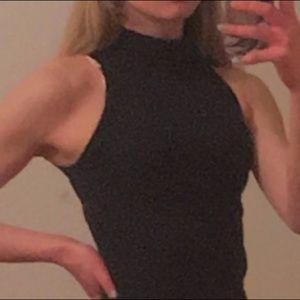 Slim black turtleneck dress